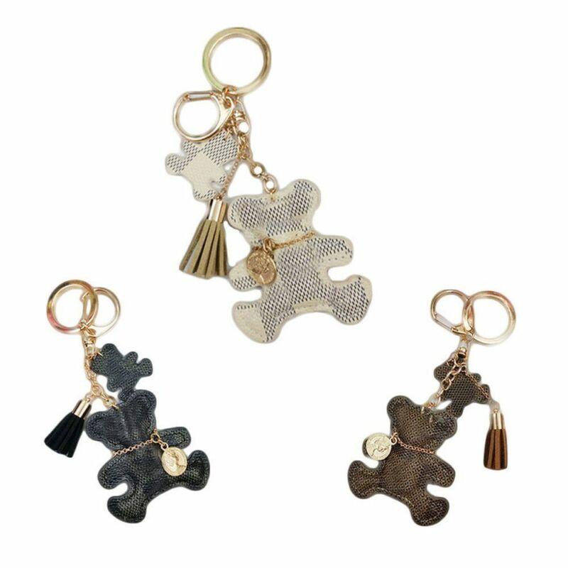 Cute Mini Bear Leather Tassel Key Ring Car Bag Pendant  Charm Gift Keychains For Women
