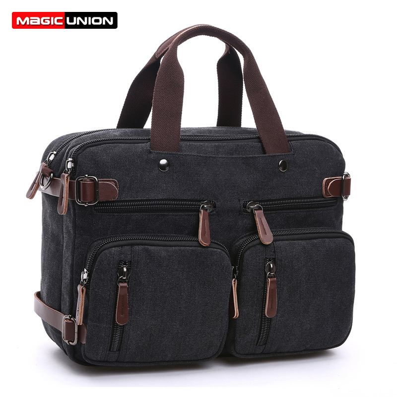 MAGIC UNION Convertible Backpack Men Canvas Shoulder Bag Laptop Case Bag Business Multi-Functional Travel Rucksack