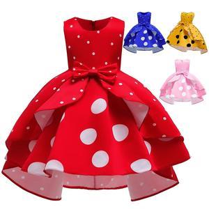 TONGTONGMI/новые детские милые платья; Детская одежда для девочек; Платье принцессы в горошек без рукавов в стиле ретро с цветочным узором для де...