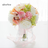 Wedding Bouquet Home Decoration Bridal Bouquets Bridesmaids Bride Pink Artificial Flowers Roses Marriage SPH57