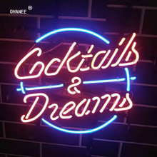 Cocktails Dreams Neon Sign Light Real Glass Neon Tube HandMade Beer Bar Shop Logo Pub Store Club Garage Nightclub Advertise(China)