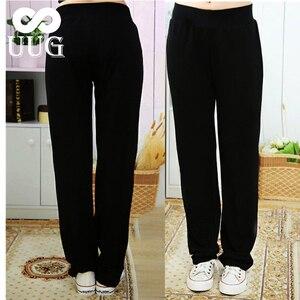 Image 1 - UUG גדול גודל נשים של ישר מכנסיים סתיו אלסטיות גבוהה מותניים מכנסיים בתוספת גודל 4xl 3XL XXL גבירותיי מכנסיים שחור אביב מכנסיים