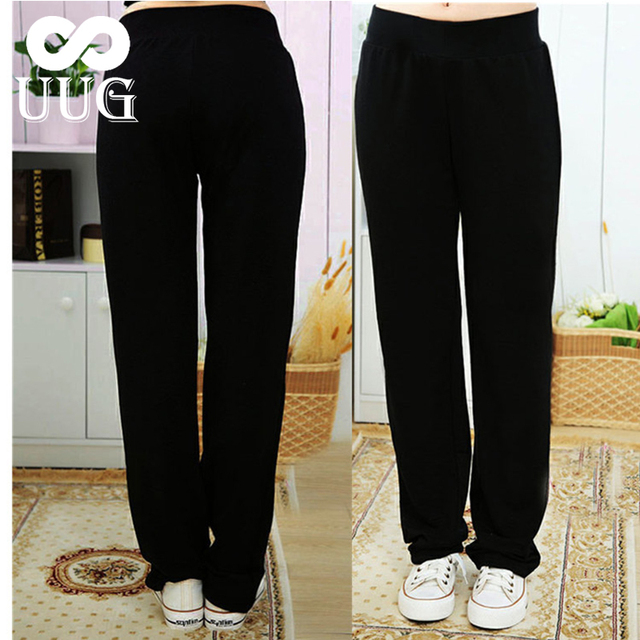 UUG גדול גודל נשים של ישר מכנסיים סתיו אלסטיות גבוהה מותניים מכנסיים בתוספת גודל 4xl 3XL XXL גבירותיי מכנסיים שחור אביב מכנסיים
