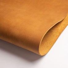 Высокое качество дубленая кожа кусок DIY натуральная кожа материал полное зерно воловья кожа желтый коричневый кожаный кусок кожевенное ремесло