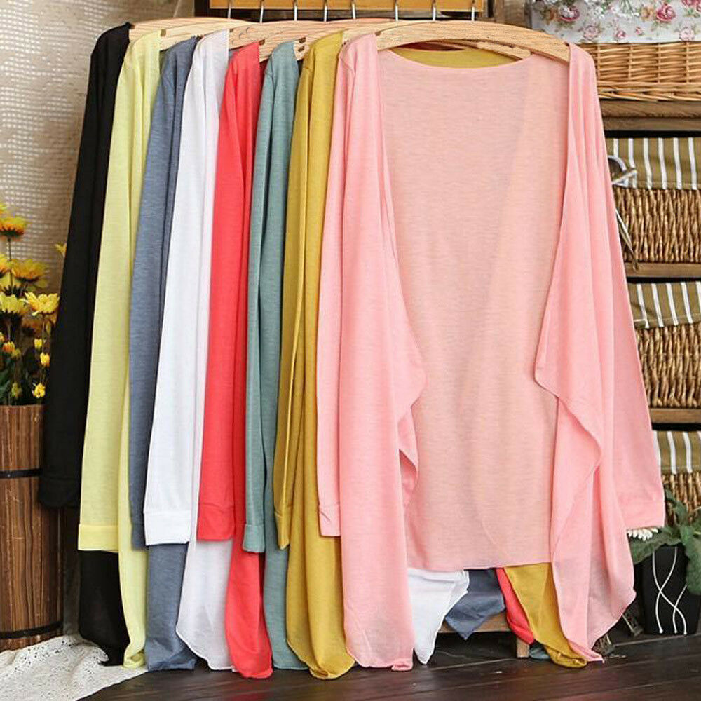 Women Summer Coat Long Thin Cardigan Modal Sun Protection Cover Up Blouse Tops