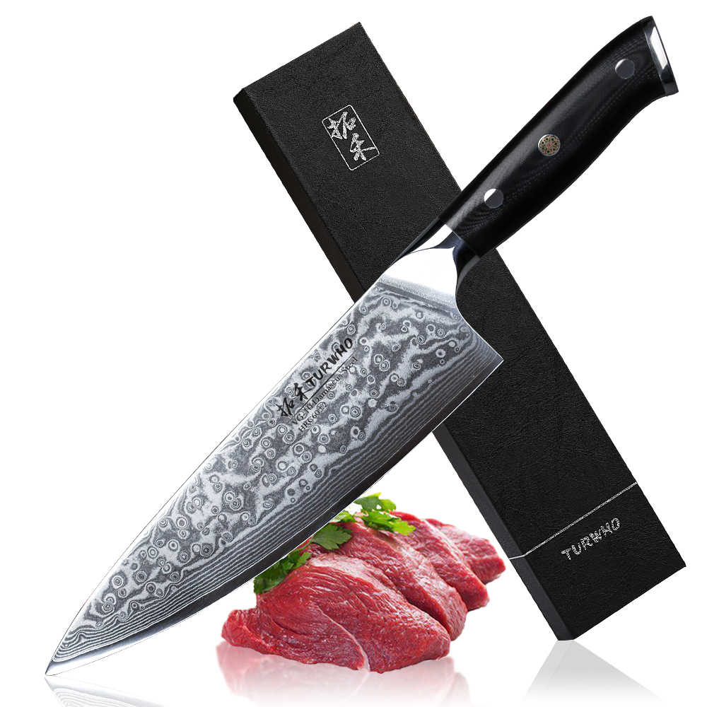 TURWHO מקצועי סכין שף 8 אינץ Gyutou יפני דמשק פלדה באיכות גבוהה מטבח סכיני להב חד מאוד בישול סכיני