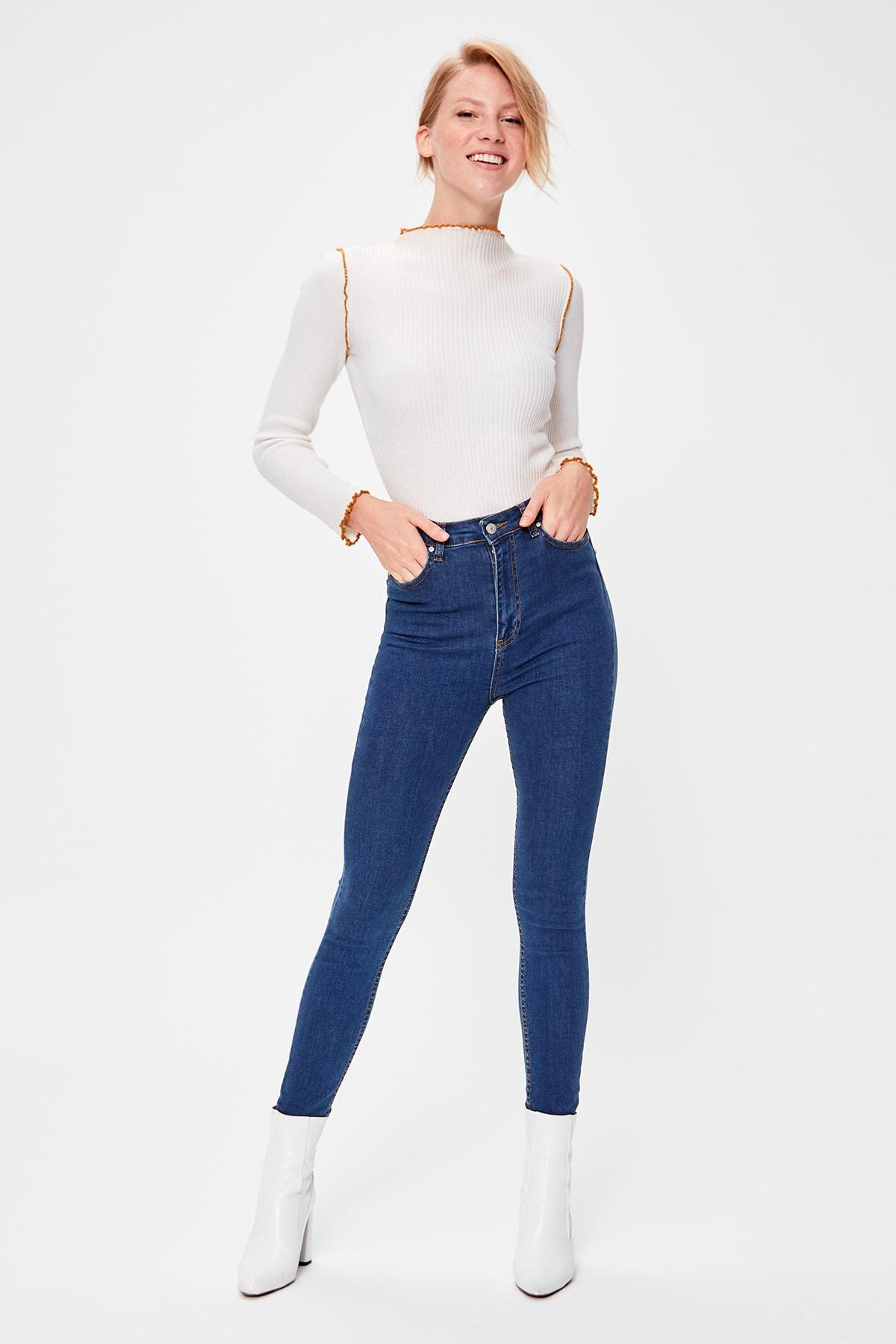 Trendyol Blue High Waist Skinny Jeans TWOAW20JE0226