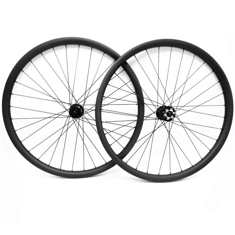 Spor ve Eğlence'ten Bisiklet Tekerleği'de 27.5er karbon mtb disk tekerlekler 30x24mm asimetri boost 110x15 142x12 thru aks mtb bisiklet tekerlekleri dağ bisikleti tekerlek title=