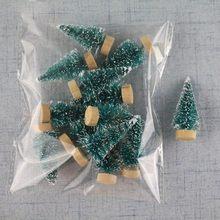 12 Stuk Mini Kerstboom Sisal Zijde Ceder-Decoratie Kleine Kerstboom-Goud S Blauw Groen Wit Mini boom