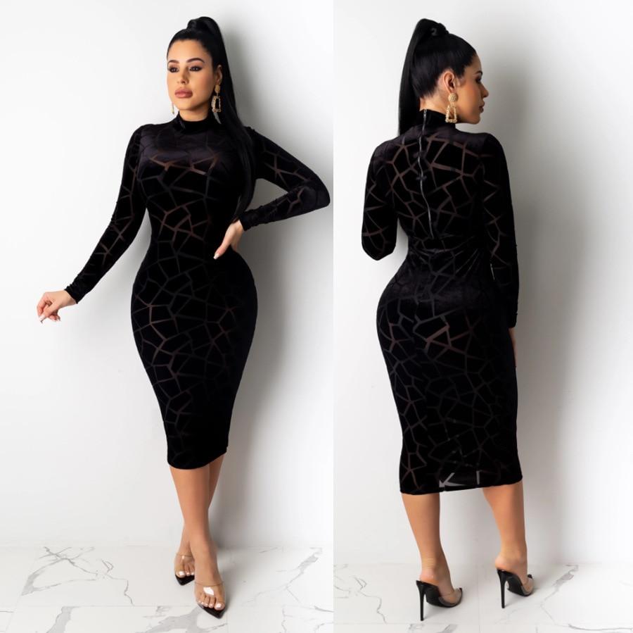 Sj3296 Europe And America Long Sleeve Flocked Square Geometry Graphics Medium-length Dress Skirt