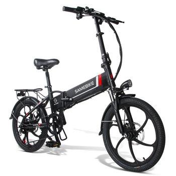 Bicicleta eléctrica plegable para adulto, bici de montaña de 20 pulgadas, 7 velocidades, color negro