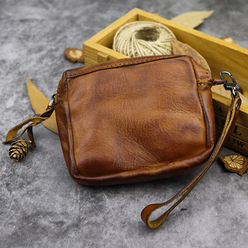 Original Handmade Genuine Leather Coin Purse Unisex 100% Real Coins Money Pocket EDC Portable Small Clutch Retro Wallet
