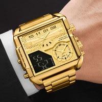 Boamigo 2021 Nieuwe Top Merk Luxe Mode Mannen Horloges Gold Rvs Sport Vierkante Digitale Analoge Grote Quartz Horloge Voor mannen