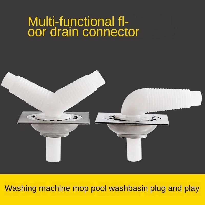 1Pcs Plastic Deodorant Wash Machine Pipe Connector 2-in-1 Tools Sealing Plug Trap Anti-odor Telescopic Sewer Pipe Accessories