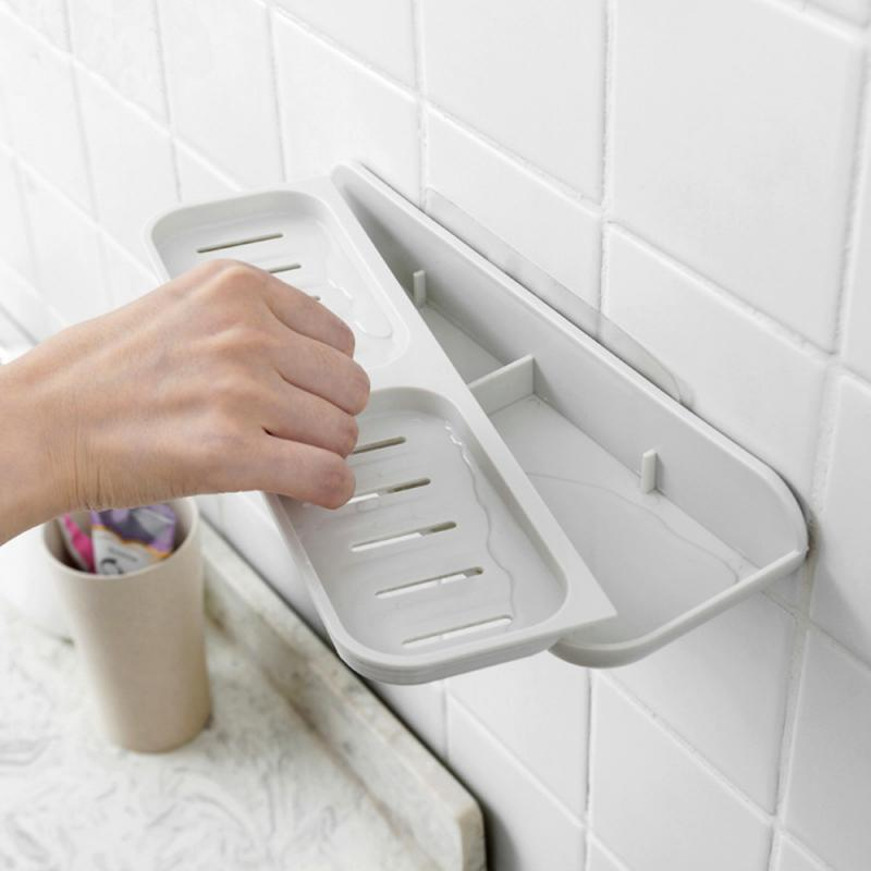 Creative Wall Mounted Soap Dishes Strong Suction Cup Drain Soap Holder Double Grid Sink Sponge Soap Storage Tray Organizer Shelf