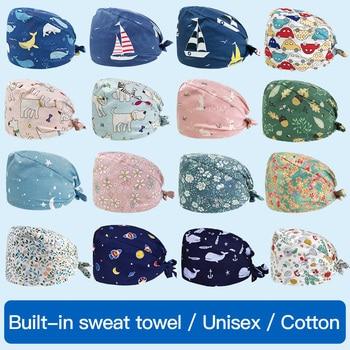 Viaoli Uni cotton Multicolor Cartoon print hats adjustable Scrub hat beauty salon working caps laboratory pet shop Scrub Caps