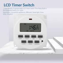 цена на TM618sH-1 24 hours 7 Days Weekly Programmable LCD Timer Switch 100-130VAC Time Relay Built-in Rechargeable Battery for Lights