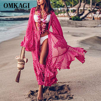 OMKAGI Sexy Cover Up Beach Solid Bikini Swimsuit Women Swimming Women's Bathing Suit Female Swimwear Floral Ruffled Hem Dress