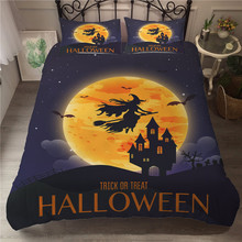 MEI Dream Hallowmas 3D Bed Sheet Set Witch and Castle Printing Bedding Linen Sets Double Coverlet