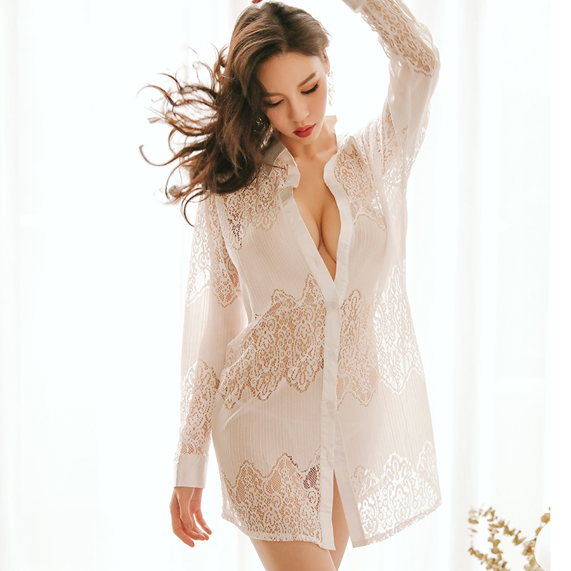 Sexy Hollow Underwear Shirt Plus Size Dress Summer Cardigan Fun Hot See-through Sleepwear Nightdress Set