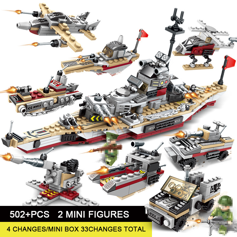 Toys For Children Compatible With LegoINGlys Battleship 502+PCS  8 IN 1 Warship Building Blocks Military Bricks With Mini Figure (1)