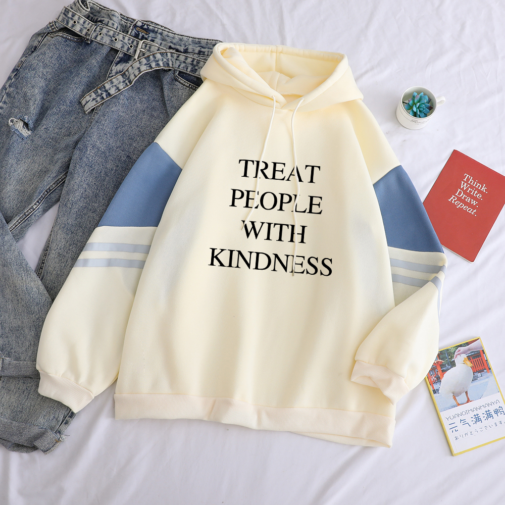 New Fashion Women Hoodies Treat People With Kindness Print Drop Shoulder Streetwear Patchwork Casual Hooded Sweatshirt Tops