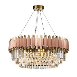 Image 1 - Роскошная Современная Люстра из розового золота, Клубная дуплексная вилла, дизайнерская модель для комнаты, гостиной, круглая Хрустальная Светодиодная лампа для свадебного декора