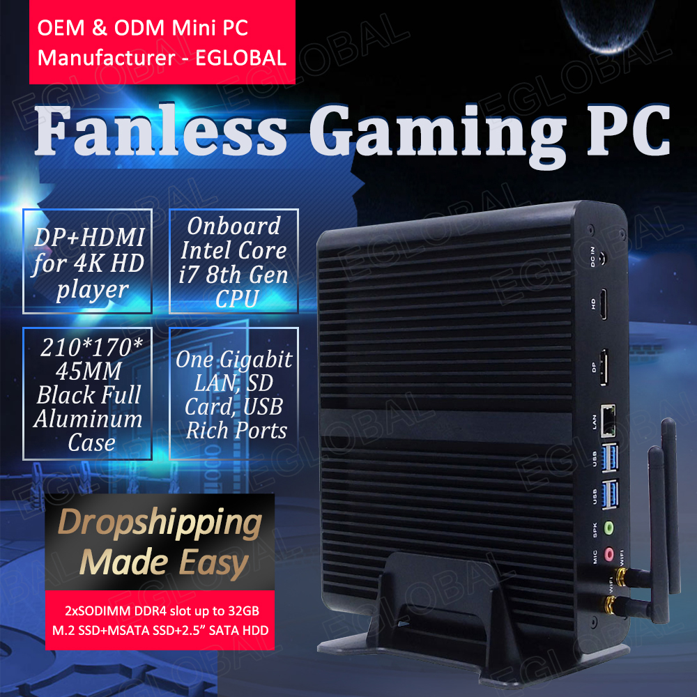 EGLOBAL Gaming Computer DDR4 64GB RAM MAX I7 Processor 7th 8th Fanless Mini Pc