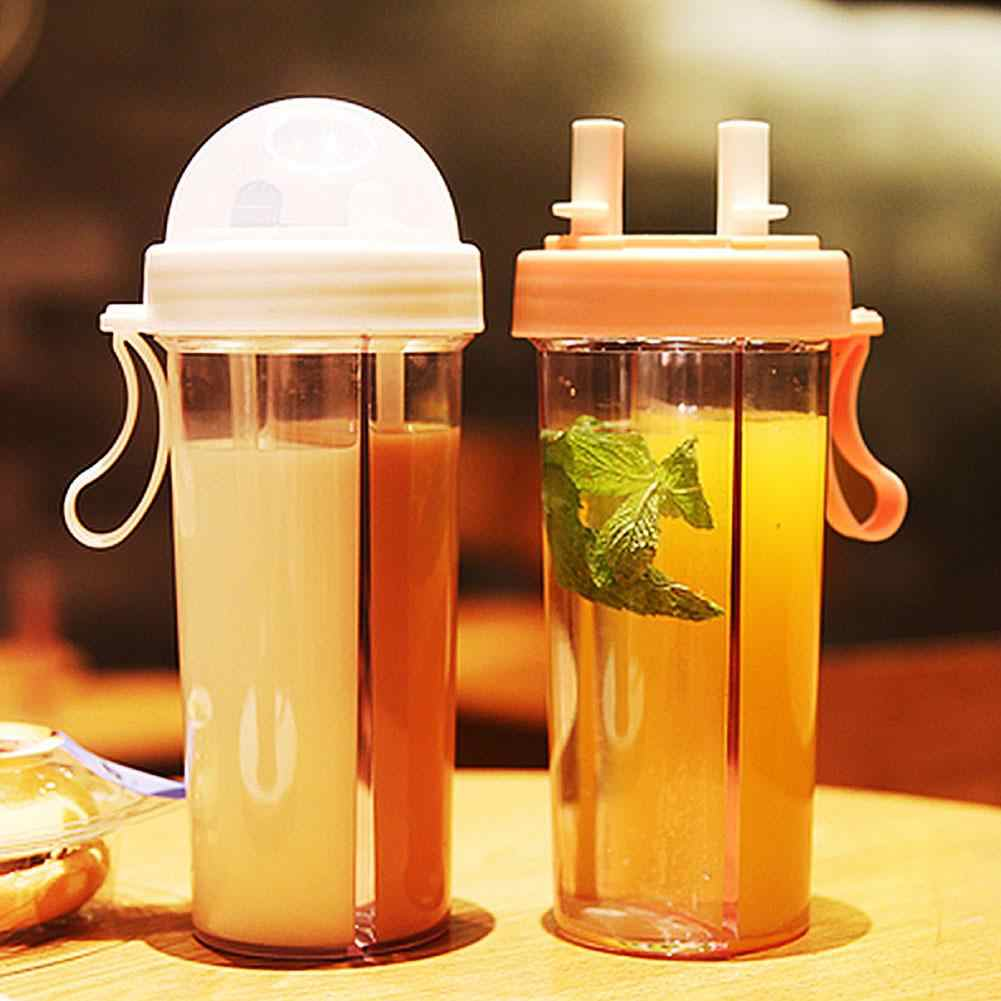 420/600ml Portable Dual Straw Separate Plastic  Sport Drink Water Beverage Bottle Couples Gift