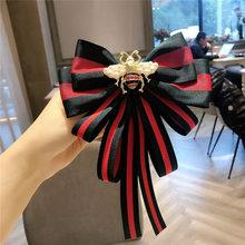 Grande tecido gravata borboleta broches para menina moda feminina listra pano camisa corsage pescoço gravata coreano vintage acessórios de festa de casamento