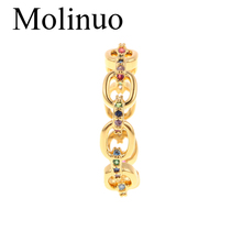 Molinuo new simple hollow type inlaid cubic zirconia ring fashion classic female jewelry 2019