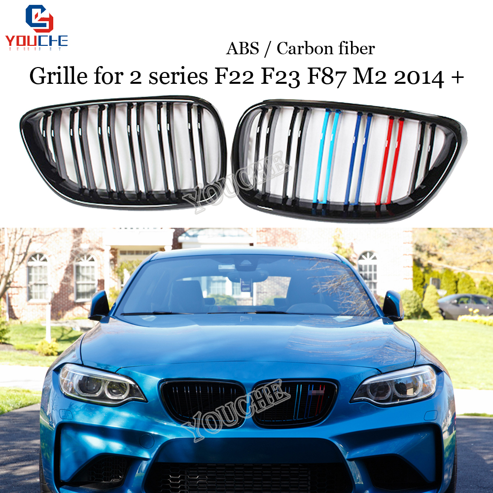 F22 ABS Carbon Fiber Grill Black Gloss M Front Bumper Grille Mesh for BMW 2 Series F22 F23 M2 F87 Coupe Cabriolet 2014 + image