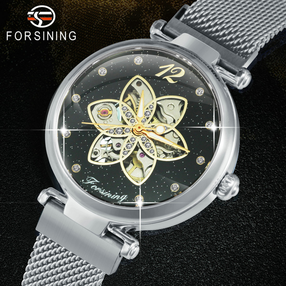 FORSINING Dress Automatic Watches Women Magnet Stainless Steel Strap Ladies Crystal Watch Skeleton Mechanical Clock Female 2020