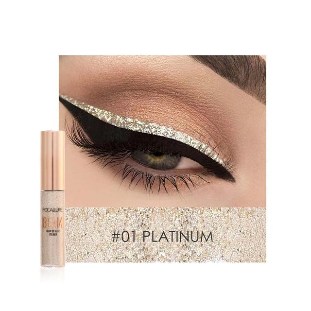 FOCALLURE 5 Colors Glitter Eyeliner Eyeshadow For Easy to Wear Waterproof Liquid Eyeliner Makeup Glitter Eye Liner 3