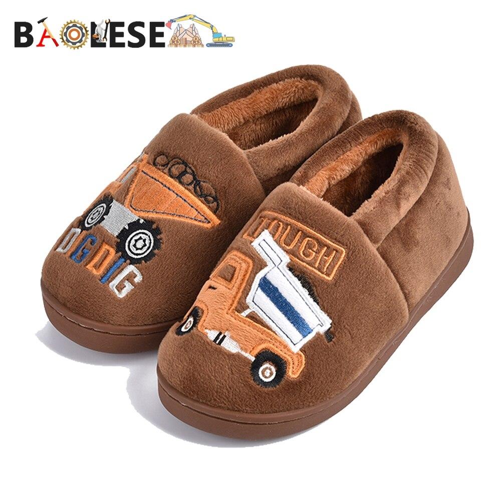 BAOLESEM Kids Slippers Children Slippers Boy Cute Cartoon Child Winter Shoes  Anti-skid Warm Slip On Fur Lined Warm Boy Shoes