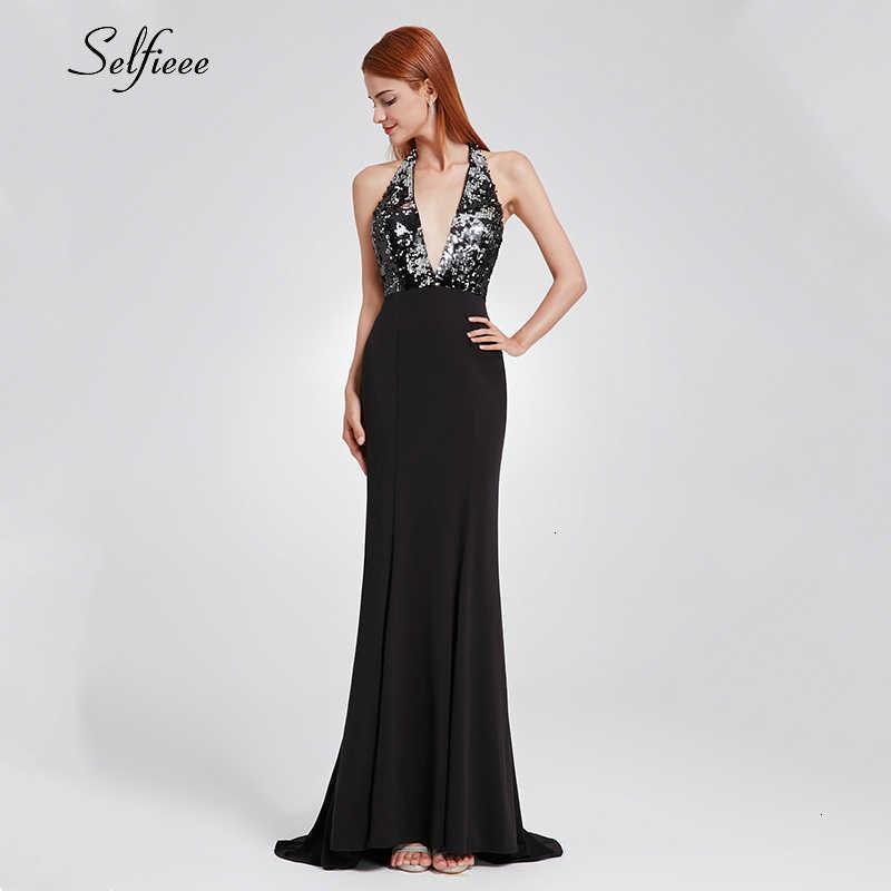 Сексуальное черное облегающее платье для женщин, платье русалки с глубоким v-образным вырезом на спине, платье с блестками, элегантные вечерние платья для женщин, Vestido Longo 2019