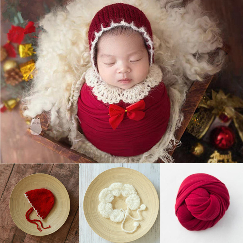 Newborn Photography Props Accessories Baby Crochet Christmas Hat Shawl Wrap Studio Baby Photo Props Infant Photography Clothing