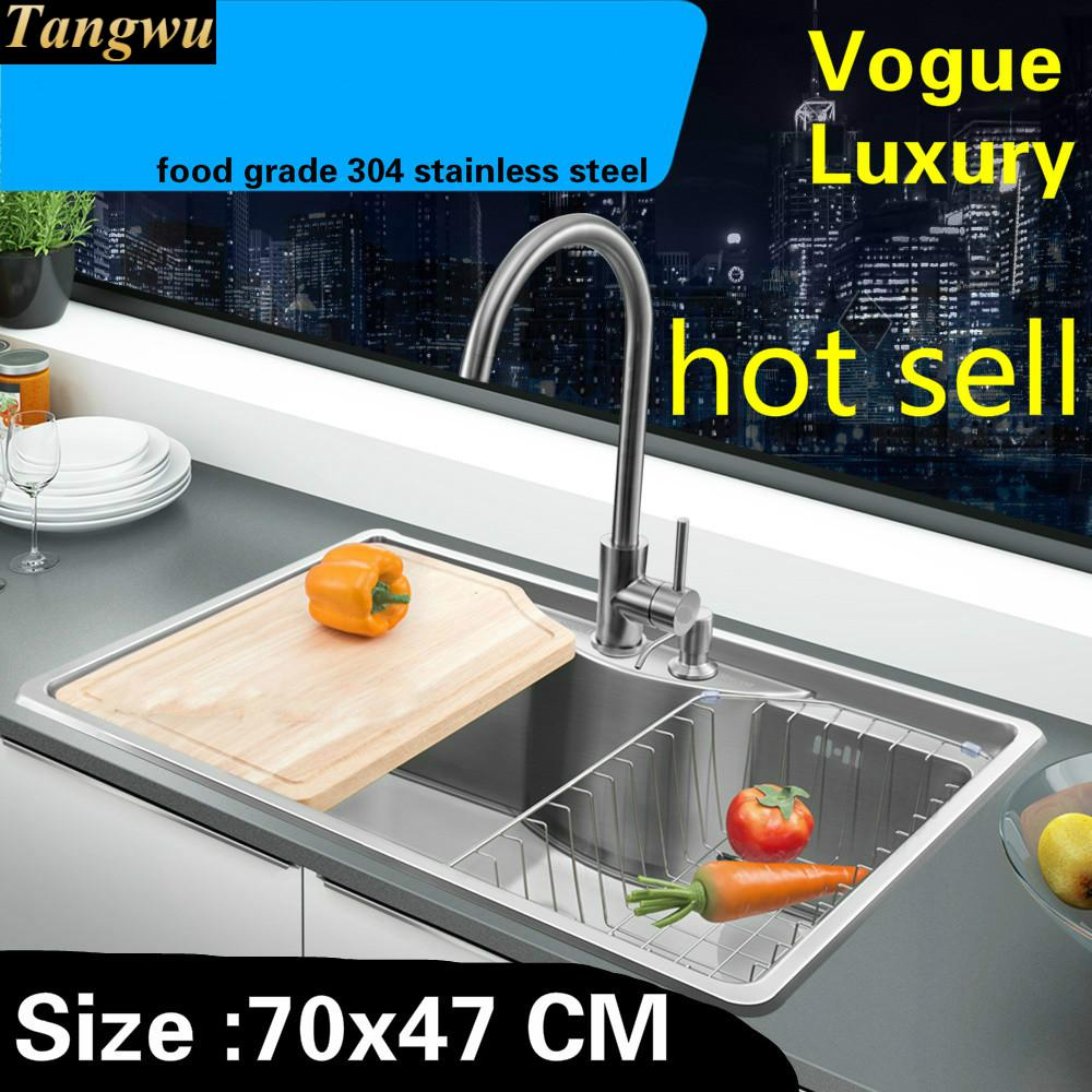 Free Shipping Home High Capacity Wash Vegetables Khigh Quality Itchen Single Trough Sink 304 Stainless Steel 700x470 MM