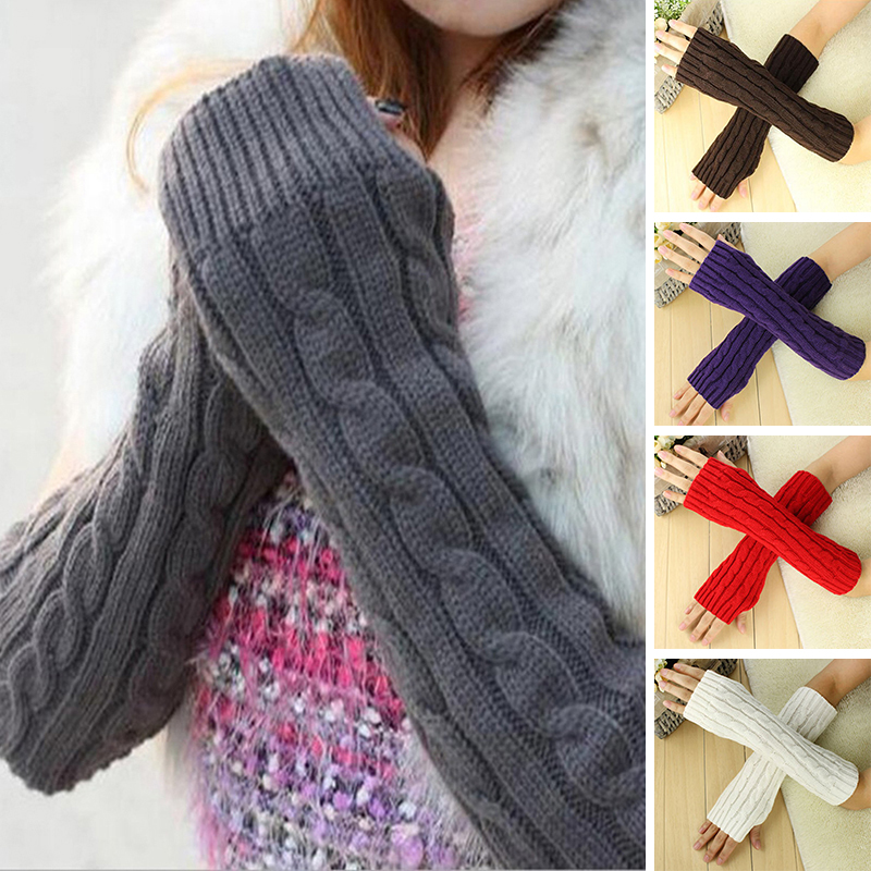 Winter Warm Women Wool Mitten Solid  Fingerless Gloves Hand Warmer Winter Women Arm Crochet Knitting Faux Gloves Gants Femme