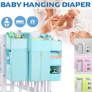 Organizador portátil para cuna de bebé, bolsa colgante para cama, artículos esenciales para bebé, bolsa de almacenamiento para pañales, juego de cama de cuna, carrito para pañales de cabecera