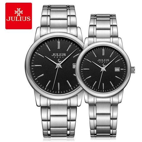 Homem e Mulher Relógio de Pulso Relógio de Quartzo Julius Moda Casal Relógio Negócios Data Exibição Senhoras Aço Inoxidável Pulseira Relógios