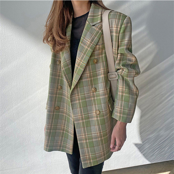 Ailegogo New 2020 Autumn Winter Women's Blazers Oversize Plaid Casual Buttons Pockets Jackets Notched Vintage Wild Tops JK6100 1