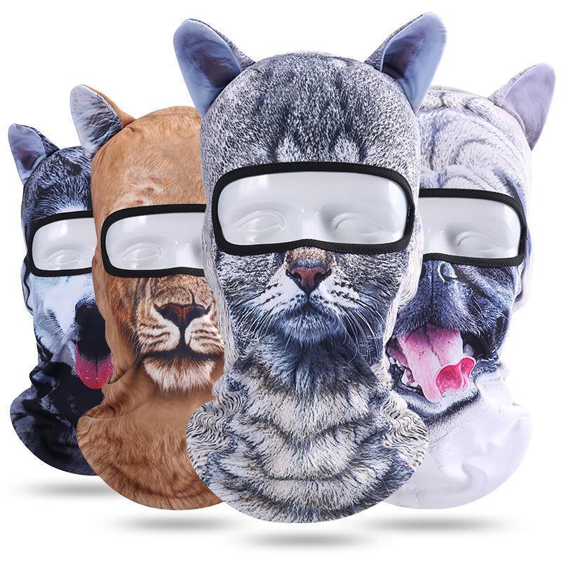Funny 3d Animal Ears Balaclava Skullies Beanies Breathable Cat Dog Panda Fox Husky Full Face Cap Hat Men Women Face Guard