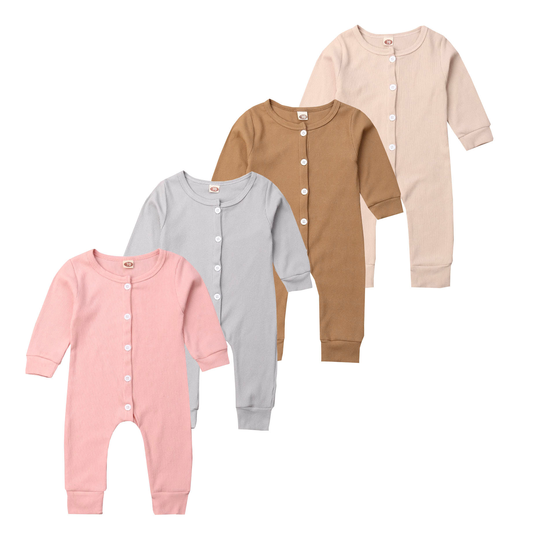 0-24Months Newborn <font><b>Baby</b></font> Girl Boy Cotton <font><b>Romper</b></font> Jumpsuit Long Sleeve Button Up One Pieces Casual Outfits Pjs Clothes Autumn image