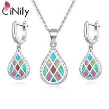 CiNily, Радужный огненный опал, ювелирный набор, посеребренный, зеленый, синий, розовый, капли воды, серьги, подвески, ожерелья, подарки для девочек и женщин