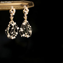 Temperament freshwater pearl earrings 3*8.5cm / Fringed long women earrings / wholesale dropshipping(China)
