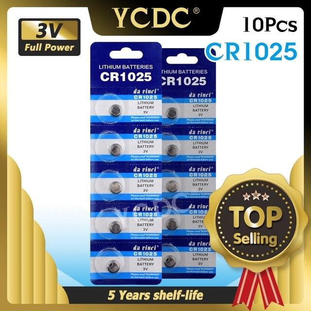 YCDC 10 יח\חבילה 3V CR 1025 CR1025 ליתיום כפתור סוללה DL1025 BR1025 KL1025 מטבע סוללות עבור שעון אלקטרוני צעצוע מרחוק