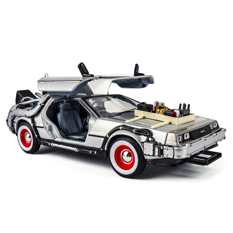 1/24 Scale Metal Alloy Car Diecast Model Part 1 2 3 Time Machine DeLorean DMC-12 Model Toys Welly Back To The Future Decoration