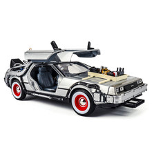 1/24 Scale Metal Alloy Car Diecast Model Part 1 2 3 Time Machine DeLorean DMC-12 Model Toys Welly Back To The Future Decoration(China)