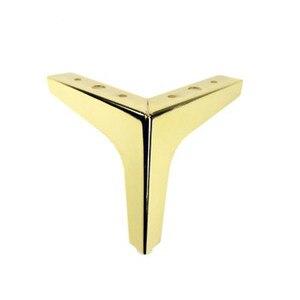 Image 5 - 4pcs Ferramenteria e attrezzi Mobili In Metallo Gambe Quadrato In Legno Cabinet Gambe del Tavolo Oro per Divano Piede Piedi Letto Riser accessori per mobili